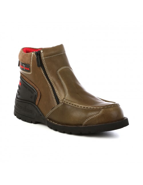 BLACK HAMMER Genuine Cow Leather Safety Boots BH5106 Brown