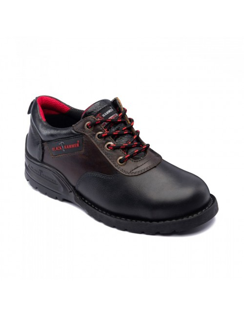 BLACK HAMMER Genuine Cow Leather Safety Shoes BH5108 Black Coffee