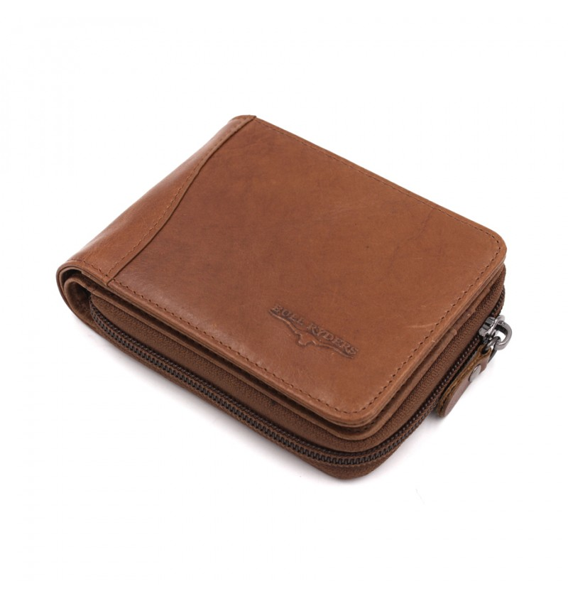BULL RYDERS Genuine Cow Leather Zipper Wallet BWGS-80525