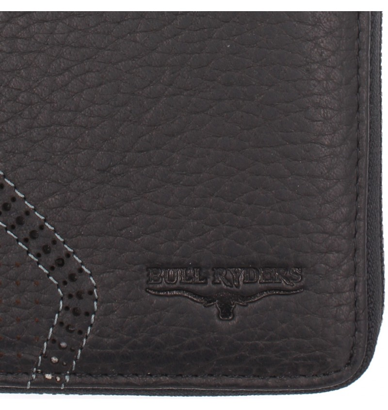 BULL RYDERS Genuine Cow Leather Long Zipper Wallet BWGV-80551