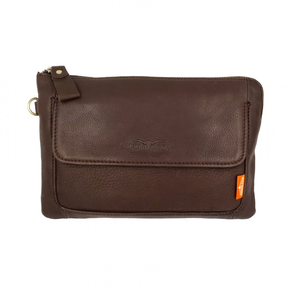 BULL RYDERS Premium Cow Leather Clutch Bag BR-88114 Dark Brown