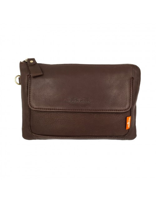 BULL RYDERS Premium Cow Leather Clutch Bag BR-88114 Dark Brown