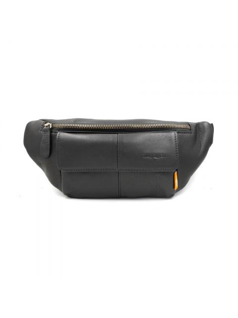 BULL RYDERS Genuine Cow Leather Waist Bag BR-88136 Black
