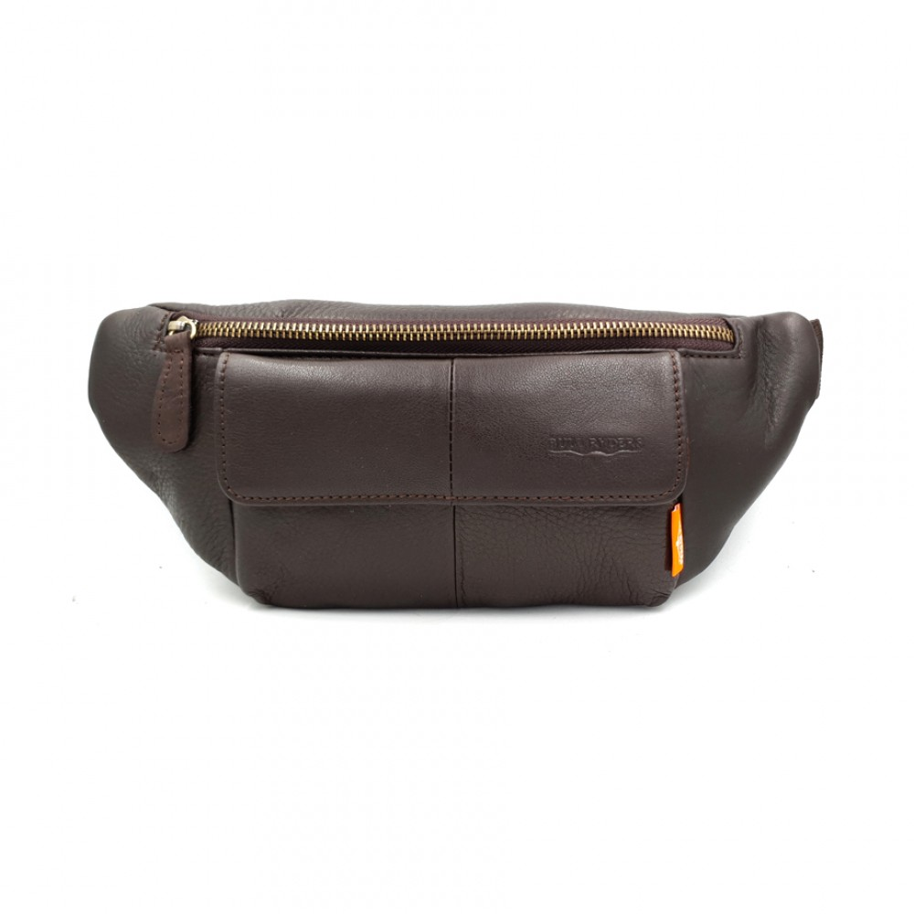 BULL RYDERS Genuine Cow Leather Waist Bag BR-88136 Dark Brown